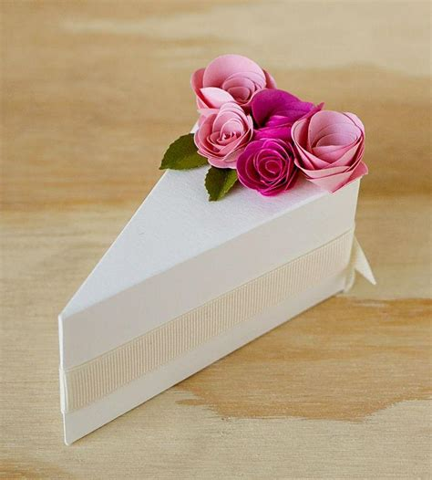 How To Make Paper Cake Slices - wedding cakes paper cake slice favor boxes