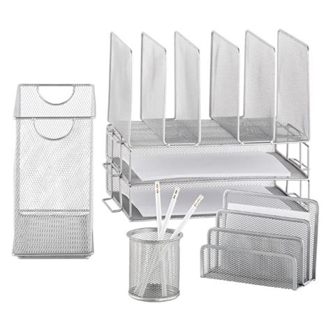 silver mesh desk accessories silver mesh letter tray the container store