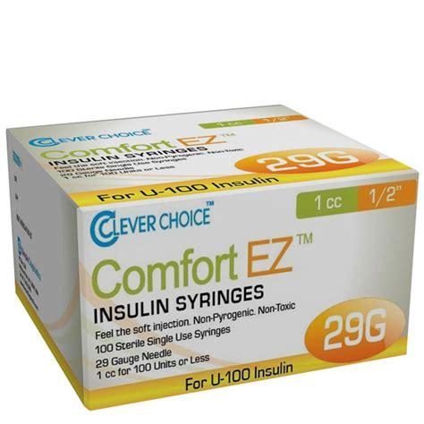 Choice Comfort by Clever Choice Comfort Ez Insulin Syringes 29g 1 Cc 1 2