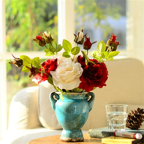Home Decor Flowers Classical Europe Style Home Decor Flowers Artificial Silk With Ceramic Vase Flower