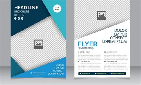 Brochure Flyer Template Bright Modern Checkered Background Free Vector In Adobe Illustrator Ai Graphic Flyer Templates Free