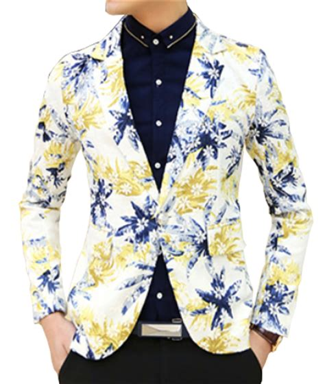 yellow patterned blazer floral mens blazer fashion ql