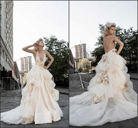 Handmade Wedding Dresses - 2015 blush backless wedding dresses handmade flower v