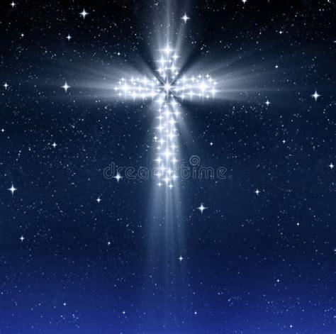 glowing religious cross  stars stock illustration illustration  illustration starry