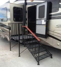 rv stairs with handrails deck and stairs for 5th wheel park model studio
