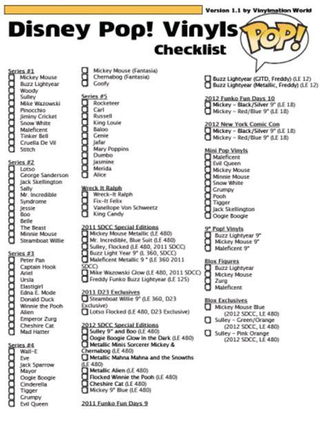 pop vinyl printable list disney pop vinyls checklist version 1 1 by vinylmation