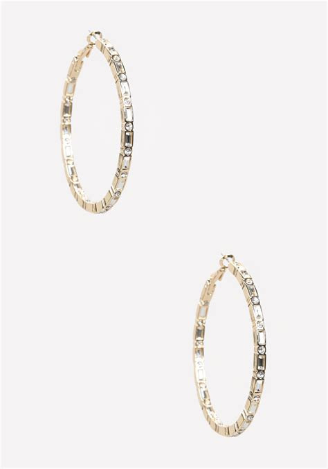 Allen Dons Gold Ribbed Hoop Earrings A La Hilary Duff by Bebe Hoop Earrings In Gold In Gold Lyst