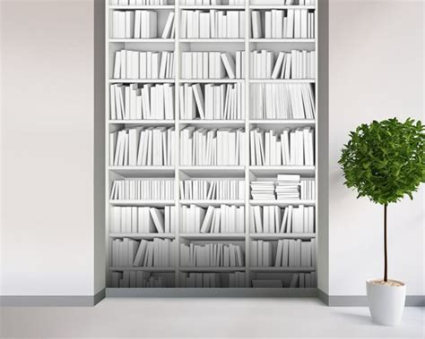 White Bookcase Wall Mural White Bookcase Wallpaper White Bookcase Wallpaper