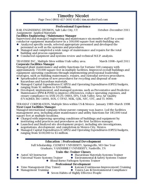 Facility Manager Resume Format