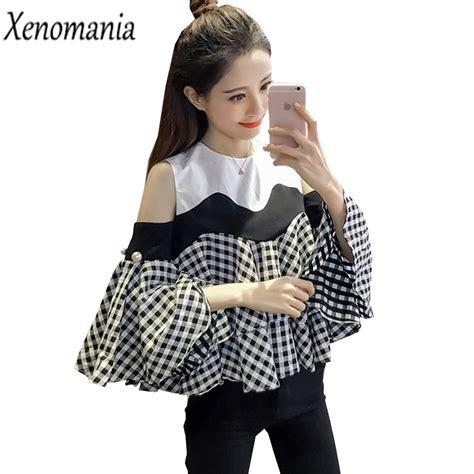 Ruffle Korea Top Blouse cold shoulder tops shoulder top blusas 2017 korean
