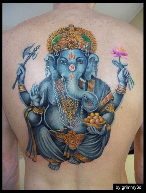 tattoo ganesha full back coloured ganesha with a lotus in hand by grimmy3d