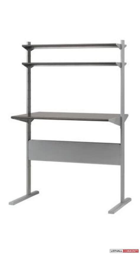 Ikea Fredrik Desk W 2 Shelves And Installed Lighting Ikea Fredrik Standing Desk