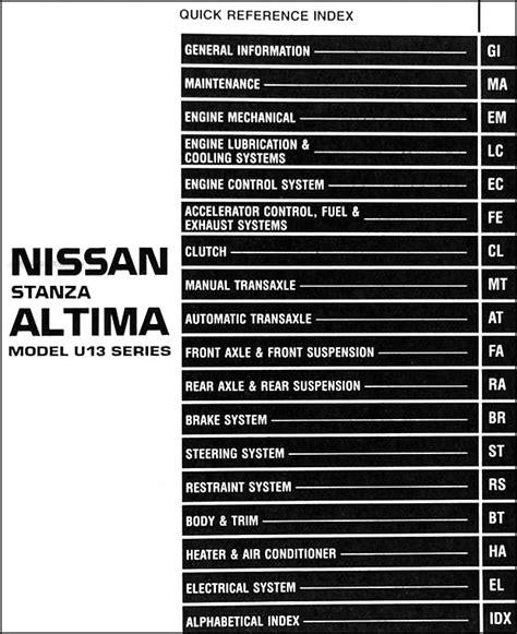 Nissan Altima Repair Manual 1996 Nissan Stanza Altima Shop Manual 96 Original Repair