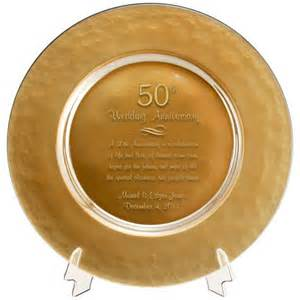 50th anniversary plate engraved personalized gold glass 50th anniversary plate