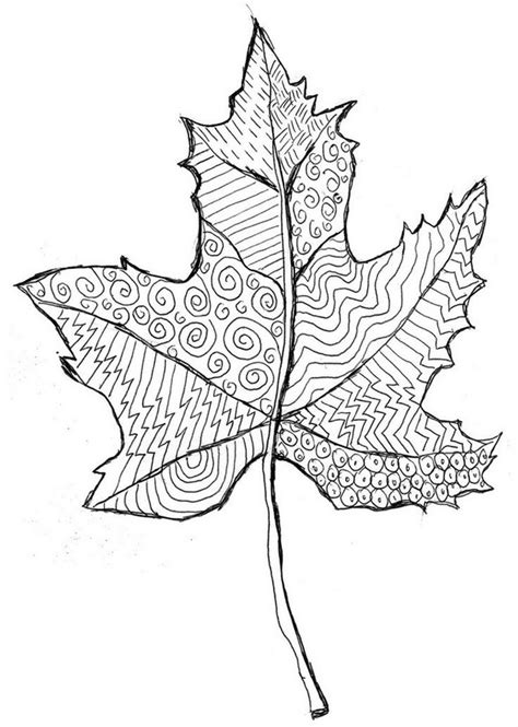 leaves coloring pages for adults coloriage adulte automne feuille morte 11