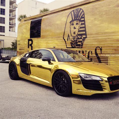 audi r8 gold tyga car