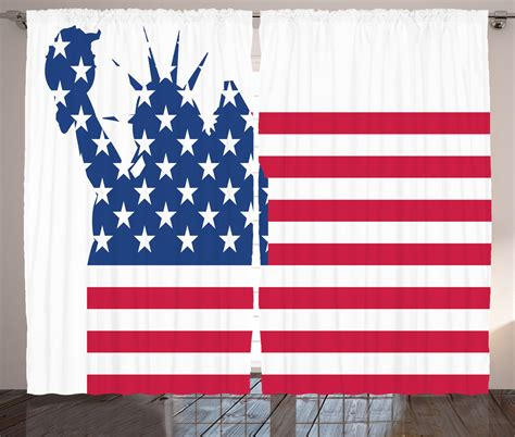 American Flag Curtains Statue Of Liberty On Flag American Decor Illustration Curtain 2 Panels Set Ebay