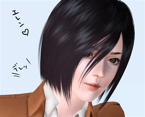 attack on titan sims 3 hair mikasa tan kewai dou