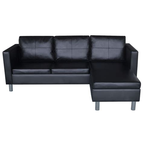 L Shaped Black Leather Sofa by Faux Leather L Shaped 3 Seat Modular Sofa In Black Buy