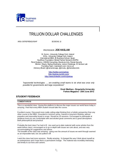 Mba Courses Cork trillion dollar challenges mba course at ie business school
