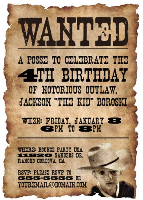 free templates for cowboy invitations printable wanted poster western themed birthday party by