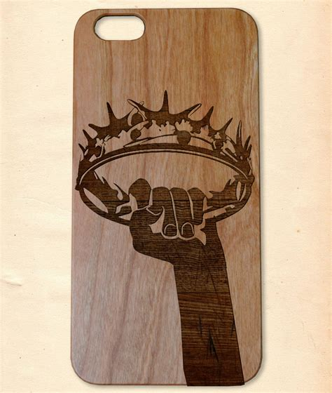 Handmade Wooden Iphone Cases - of thrones crown handmade wooden cover for