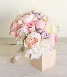 silk wedding bouquet silk bridal bouquet pink peonies dusty miller garden rustic chic wedding new 2014 design by