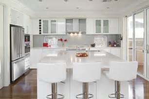 kitchens ideas with white cabinets glossy white kitchen design trend digsdigs