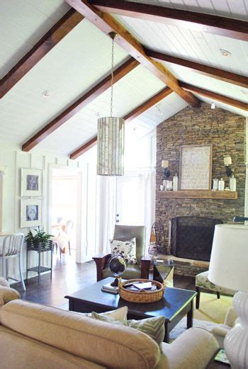 Wood Plank Ceiling Painted White