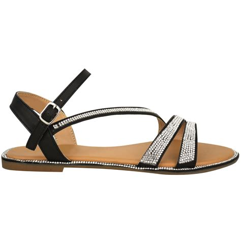 diamante flat shoes womens flat strappy sandals diamante summer toe