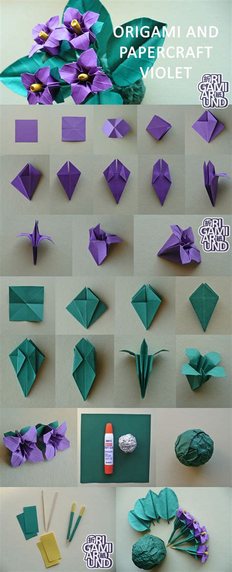 How To Make Paper Violets - origami violet tutorial by origamiaround on deviantart