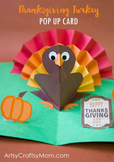 Thanksgiving Pop Up Card Templates by Diy Thanksgiving Turkey Pop Up Card Artsy Craftsy