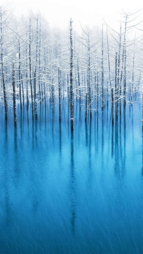 apple wallpaper blue pond blue pond hokkaido the iphone wallpapers