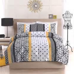 black yellow and white polka dot damask striped bedding