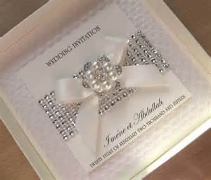 luxury wedding invitations pearls diamante bling with without box