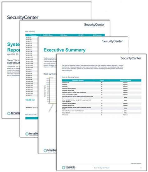 securitycenter report templates tenable