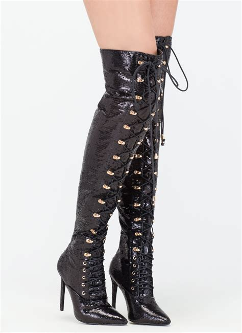 thigh high boots walk sequin thigh high boots black gojane