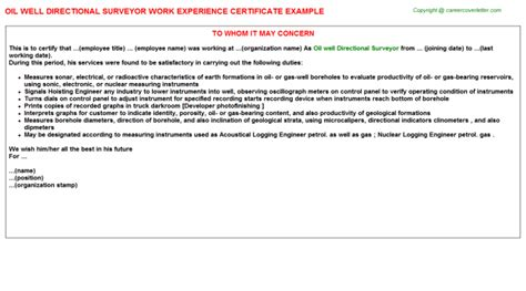 Work Experience Letter For Quantity Surveyor Senior Quantity Surveyor Work Experience Letters