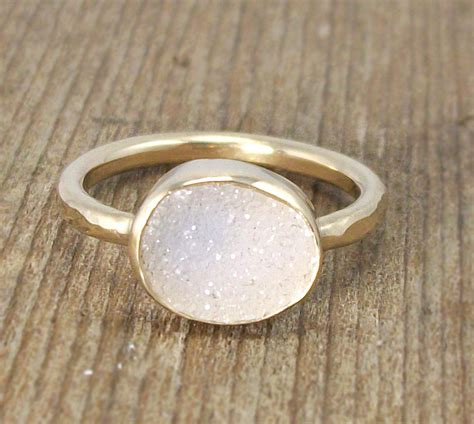 druzy 14k gold ring white