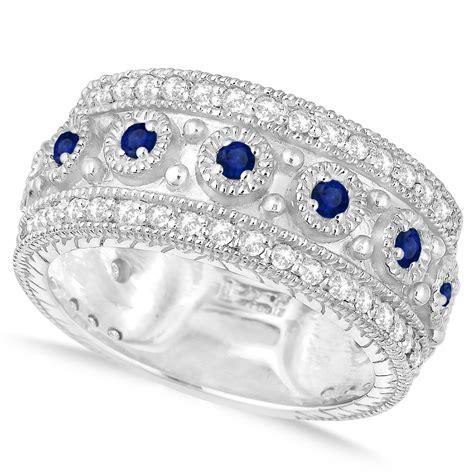 Blue Sapphire 6 15ct blue sapphire byzantine vintage anniversary band 14k white
