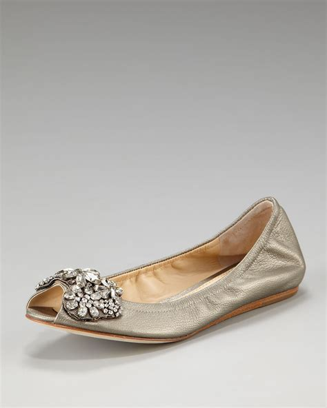 vera wang flats shoes vera wang lavender jeweled ballerina flat in beige lyst