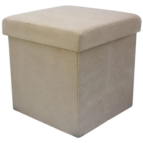 Faux Suede Folding Storage Pouffe Stool Seat Ottoman Box Ottoman Stool Storage