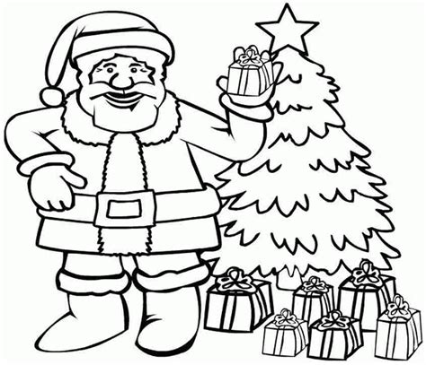santa christmas tree coloring page santa claus template printable coloring home
