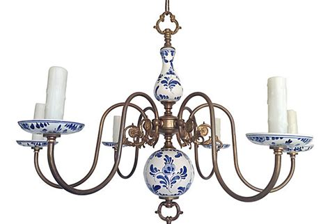 1950s Blue & White Porcelain Chandelier   Omero Home