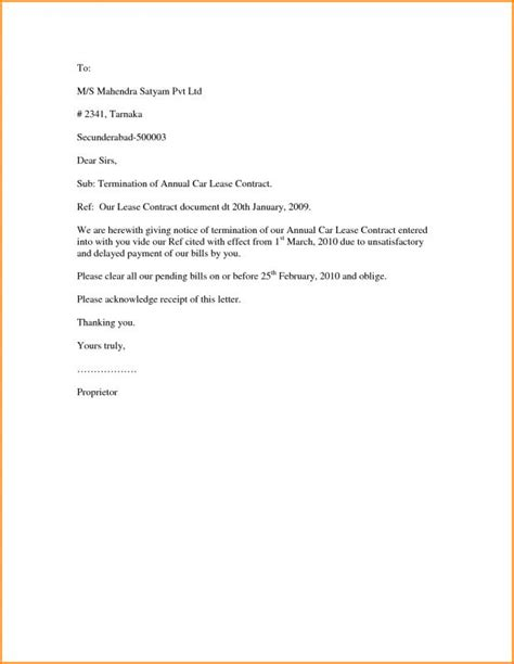 Sle Termination Letter Template Business Written Notice Of Termination Of Lease Template