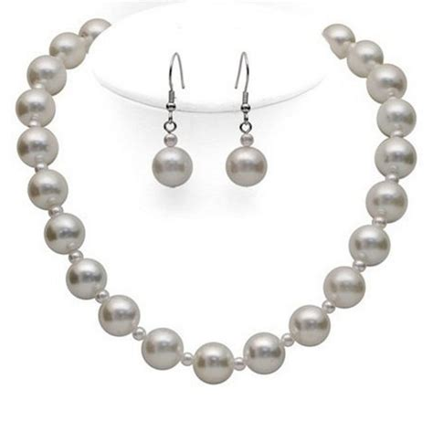 Set Faux Pearl Earring Necklace white faux pearl necklace earring set with small large