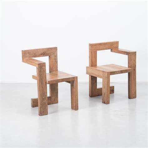 rietveld stuhl pair gerrit rietveld wooden steltman chairs b 233 ton brut
