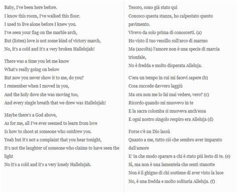 hallelujah traduzione testo hallelujah