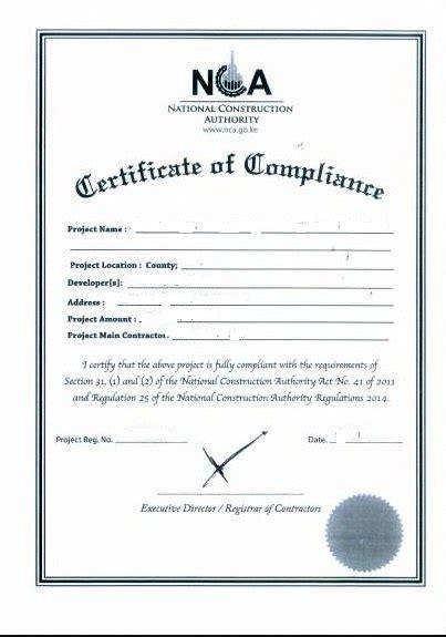design compliance certificate eregulations kenya