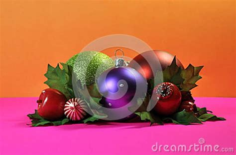 bright and colorful christmas bauble decorations stock